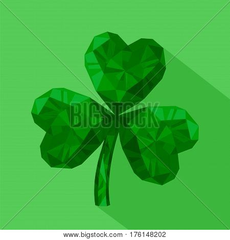 Vector illustration of crystal emerald Shamrock. Gem jewelry three-leaved clover. St. Patrick's Day flat icon. 17 March