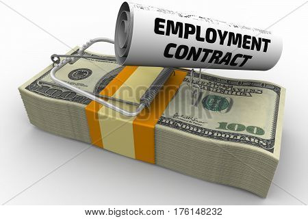 Dangerous employment contract. Mousetrap from pack of American dollars with bait in form of sheet with text