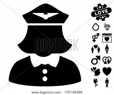 Airline Stewardess icon with bonus lovely symbols. Vector illustration style is flat iconic black symbols on white background.