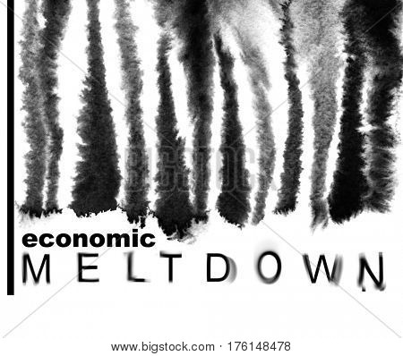 Economic meltdown. Melted down bar-code. Economic recession concept