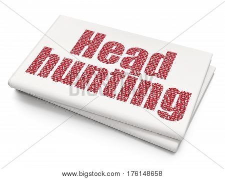 Business concept: Pixelated red text Head Hunting on Blank Newspaper background, 3D rendering