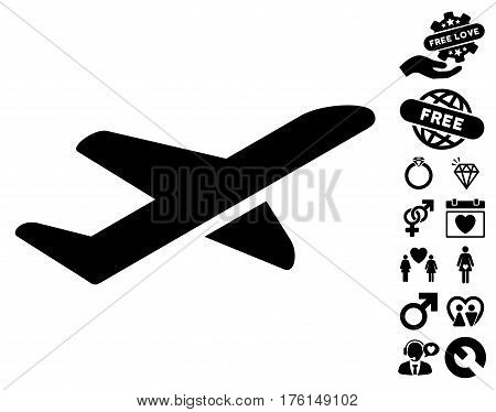 Airplane Takeoff pictograph with bonus dating clip art. Vector illustration style is flat iconic black symbols on white background.