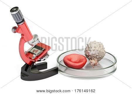 biotechnology research concept microscope and blood cells. 3D rendering isolated on white background