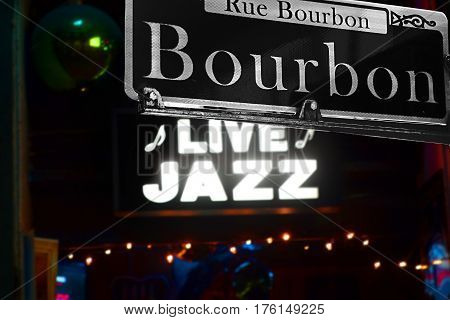 Bourbon Street sign in New Orleans French Quarter