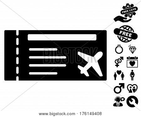 Airticket pictograph with bonus lovely pictograph collection. Vector illustration style is flat iconic black symbols on white background.