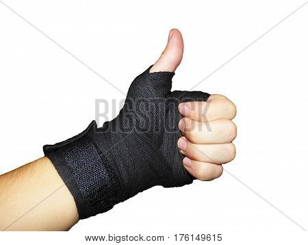 Commendable gesture boxer bandaged hand on the white background