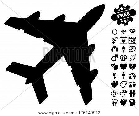 Bomber icon with bonus lovely symbols. Vector illustration style is flat iconic black symbols on white background.