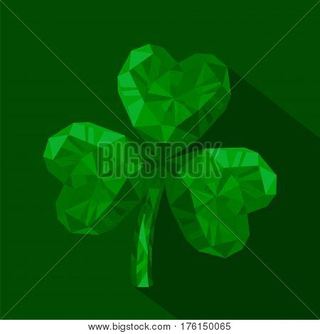 Vector illustration of crystal emerald Shamrock. Polygonal gem jewelry three-leaved clover. St. Patrick's Day isolated flat icon on the green background.