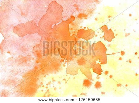 Yellow orange watercolor abstract background with stains