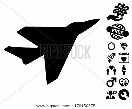 Intercepter icon with bonus valentine pictograph collection. Vector illustration style is flat iconic black symbols on white background.