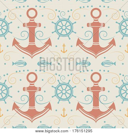 Vector seamless pattern with anchor, helm and fish. Marine background. Template for design banners, postcard, invitation, packaging, fabric, cover, poster wrapping paper Vintage style