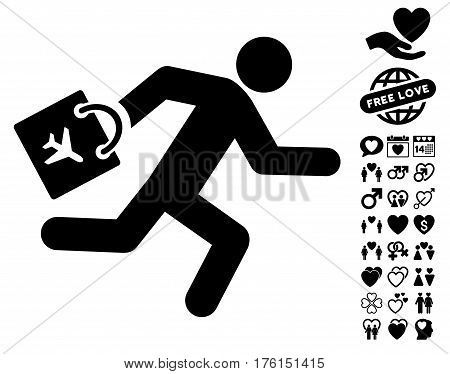 Late Airport Passenger pictograph with bonus dating images. Vector illustration style is flat iconic black symbols on white background.