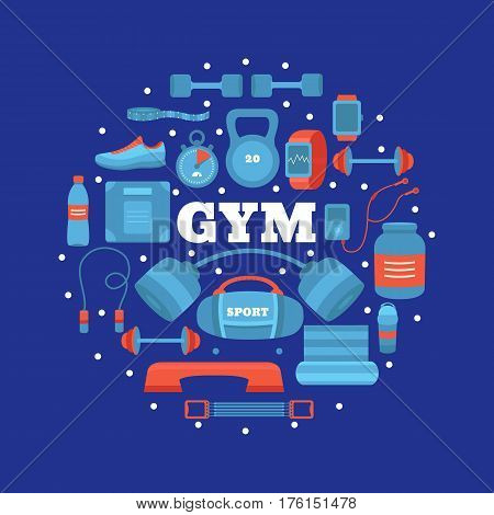 Set of gym equipment. Collection of objects fitness barbell, dumbbells, sports nutrition, weight, jumping rope, expander, fitball and other. Workout at the gym vector icons. Sport concept.
