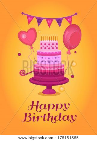 Happy Birthday Greeting Card Vector Photo Bigstock