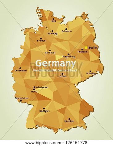 Vector geometric polygonal map of Federal Republic of Germany. Bundesrepublik Deutschland and its capitals of 16 federal states - Bundeslander