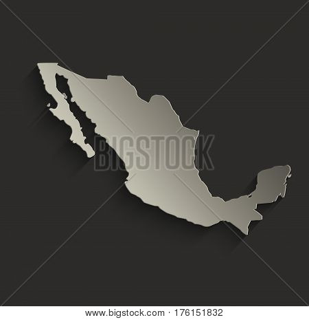 Mexico map outline card blank black raster