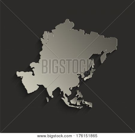 Asia map outline card blank black raster