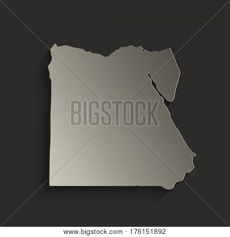 Egypt map outline card blank black raster