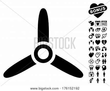 Three Bladed Screw icon with bonus lovely graphic icons. Vector illustration style is flat iconic black symbols on white background.