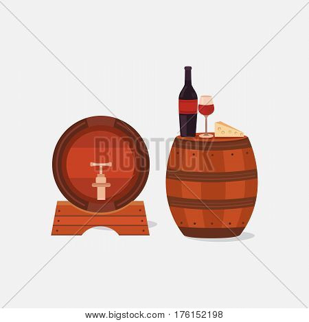 Illustration of two wine barrels isolated on a light background. Vector elements bottle, wineglass, cheese. Winemaking business. Wine cellar. Background for labels, tags, packaging, brochures.