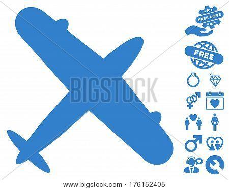Aeroplane icon with bonus dating clip art. Vector illustration style is flat iconic cobalt symbols on white background.
