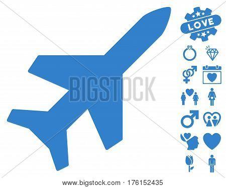 Aeroplane icon with bonus lovely icon set. Vector illustration style is flat iconic cobalt symbols on white background.