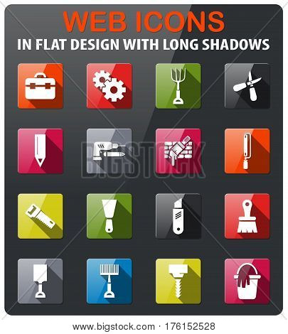 work tools icons set in flat design with long shadow