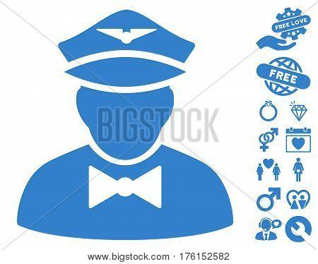 Airline Steward icon with bonus valentine clip art. Vector illustration style is flat iconic cobalt symbols on white background.