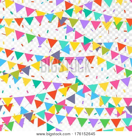 Seamless pattern with colorful flags. Vector pattern with bunting on white background. Holiday background for web design, greeting card and party decoration