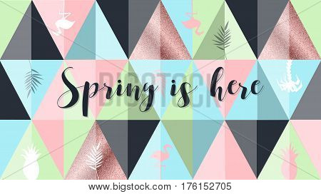Spring is here poster, banner in trendy 80s-90s Memphis style. Copper metal and rose gold vector illustration, lettering and colorful design for poster, card, invitation. Easy editable for design.