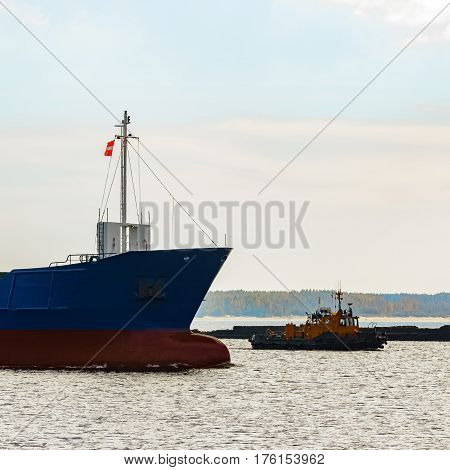 Blue Cargo Ship's Bow