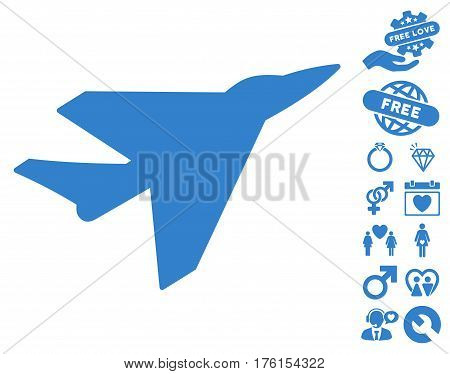 Intercepter icon with bonus dating icon set. Vector illustration style is flat iconic cobalt symbols on white background.