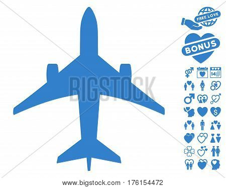 Jet Plane pictograph with bonus love pictograms. Vector illustration style is flat iconic cobalt symbols on white background.
