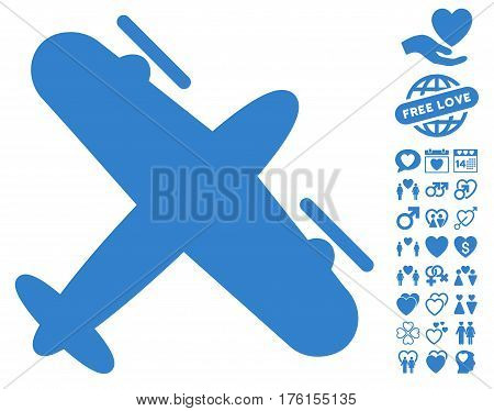 Propeller Aircraft pictograph with bonus dating icon set. Vector illustration style is flat iconic cobalt symbols on white background.