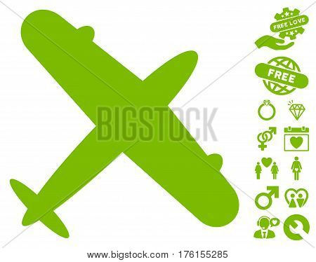 Aeroplane icon with bonus valentine pictograms. Vector illustration style is flat iconic eco green symbols on white background.