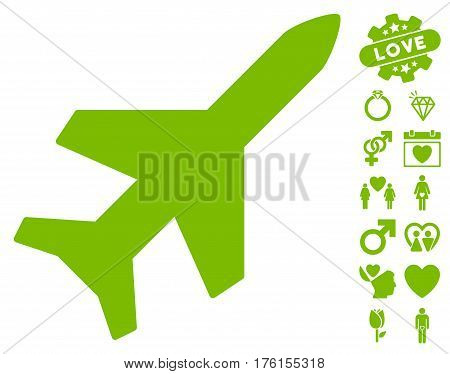 Aeroplane pictograph with bonus dating images. Vector illustration style is flat iconic eco green symbols on white background.