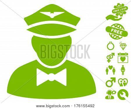 Airline Steward icon with bonus valentine icon set. Vector illustration style is flat iconic eco green symbols on white background.