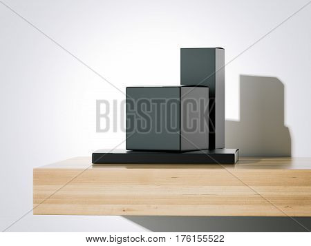 Black packages on the wooden shelf. Bright studio. 3d rendering