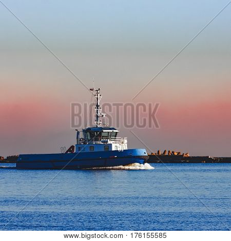 Blue Small Tug Ship