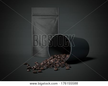 Coffee beans in a black cup and blank packaging recycled paper bag. 3d rendering