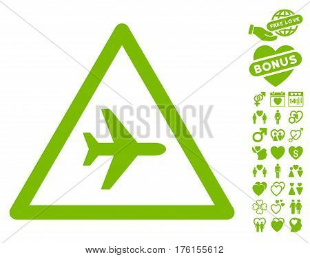 Airplane Danger icon with bonus dating pictures. Vector illustration style is flat iconic eco green symbols on white background.