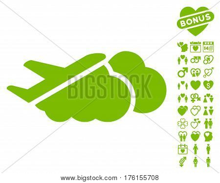 Airplane Over Clouds pictograph with bonus valentine images. Vector illustration style is flat iconic eco green symbols on white background.