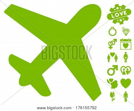 Airplane pictograph with bonus love clip art. Vector illustration style is flat iconic eco green symbols on white background.