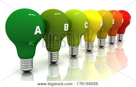 Energy efficiency, light bulbs This is 3D Illustration