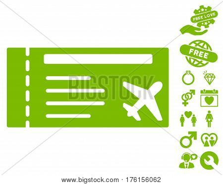 Airticket pictograph with bonus dating pictograph collection. Vector illustration style is flat iconic eco green symbols on white background.