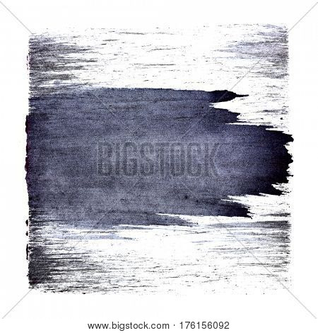 Bluish square with expressive brush stroke. Abstract background. Space for your own text
