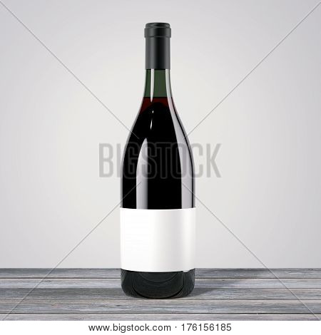 Red wine bottle on a wooden table. 3d rendering