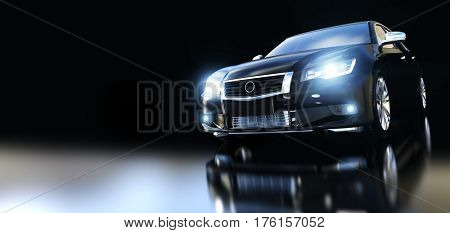 Modern black metallic sedan car in spotlight, banner composition. Generic design, brandless. 3D rendering.