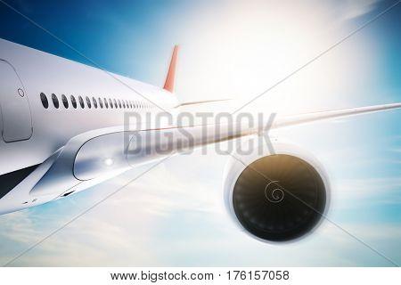 Passenger airplane flying at sunshine, blue sky. Aircraft, airline transportation industry. 3D illustration