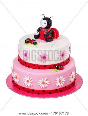Creative cake for a girl on her birthday. Ladybug.
